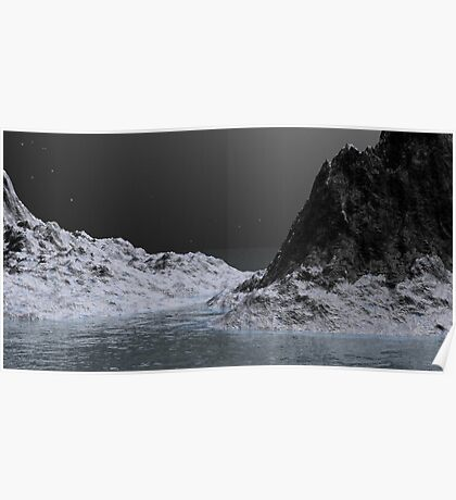 Ice Ravine by Moonlight Poster