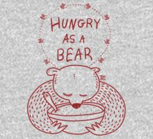 Hungry As A Bear (red print) by TsipiLevin