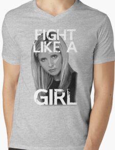 Fight Like A Girl Mens V-Neck T-Shirt