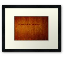 A Protective Obstruction Framed Print