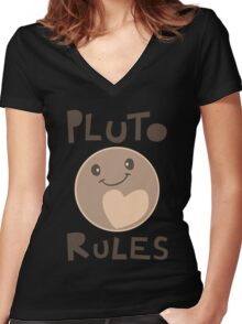 Excuse Me While I Science - Pluto Rules! Women's Fitted V-Neck T-Shirt