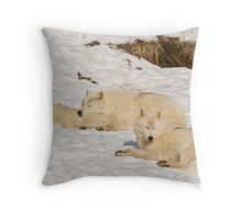 Three not so bad wolves Throw Pillow