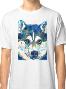 Colorful Husky Dog Art by Sharon Cummings Classic T-Shirt