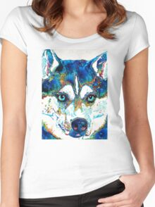 Colorful Husky Dog Art by Sharon Cummings Women's Fitted Scoop T-Shirt
