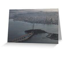 Flying over the Bay Bridge into Oakland,California USA Greeting Card