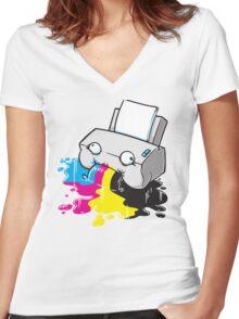 Puker Printer Women's Fitted V-Neck T-Shirt