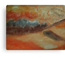 Abstract of sand and clouds in orange, watercolor Canvas Print