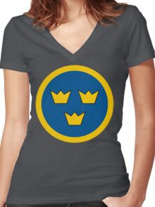 Swedish Air Force Insignia Women's Fitted V-Neck T-Shirt