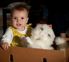 Darcey in the box with cat by Matt Sillence