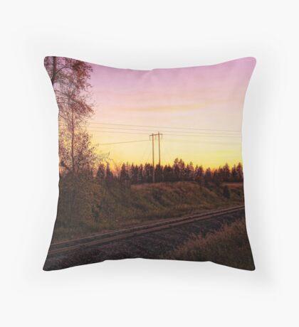 Rural Tracks (Columbia Falls, Montana, USA) Throw Pillow