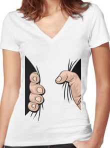 Big Hand Squeezing Women's Fitted V-Neck T-Shirt