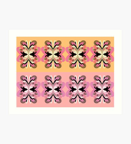 Four + Four Flowers (pink + yellow) Art Print