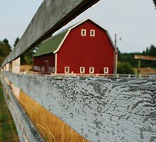 red barn and fence by dreamscaper