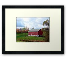 (Barn calendar) The Red Barn and the Willow in Fall Framed Print