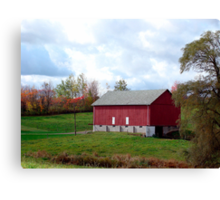 (Barn calendar) The Red Barn and the Willow in Fall Canvas Print