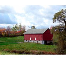 (Barn calendar) The Red Barn and the Willow in Fall Photographic Print