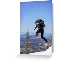 Snowshoeing in Monts Valins, Quebec Greeting Card