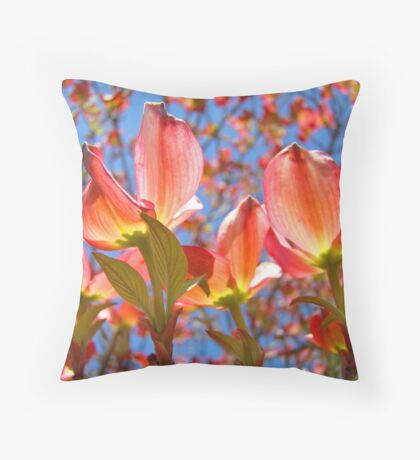 Bright Colorful Floral art Pink Dogwood Flowers Baslee Troutman Throw Pillow