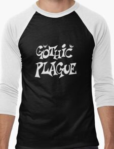 Gothic Plague: White w/ Bats Men's Baseball ¾ T-Shirt