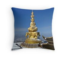 Temple and Buddha Statue, Emei Shan, Sichuan, China Throw Pillow