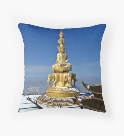 Temple and Buddha Statue, Emei Shan, Sichuan, China Throw Pillow