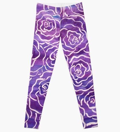 Abstract Roses- Purple Leggings