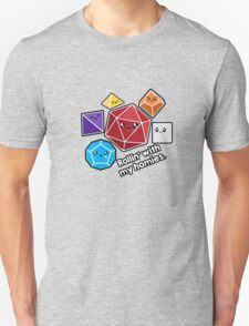 Polyhedral Pals - Rollin With My Homies - D20 Gaming Dice T-Shirt