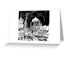 Luna Park Ink Sketch Greeting Card