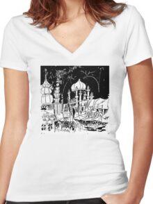 Luna Park Ink Sketch Women's Fitted V-Neck T-Shirt