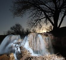 Super Moon over Water Fall by Randall Rogers