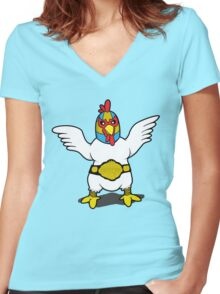 El Diablo - Fighting Chicken Women's Fitted V-Neck T-Shirt
