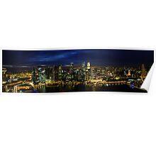 Singapore City Skyline Sunset Circa 2011 Poster