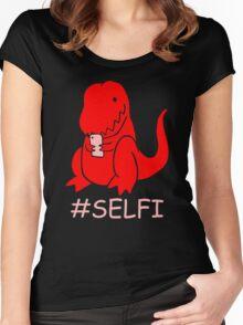 Selfie dinosaur Women's Fitted Scoop T-Shirt