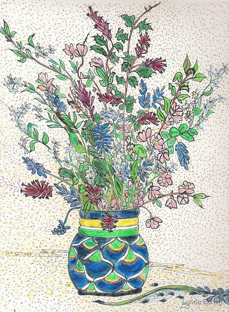 Wild Flowers in Mexican Vase by Lynda Earley