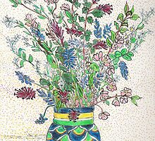 Wild Flowers in Mexican Vase by Lynda Earley