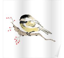 Black capped Chickadee ( Poecile atricapillus) (Chinese brush art) Poster