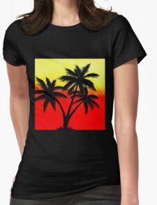 Palm Tree Silhouette Womens Fitted T-Shirt