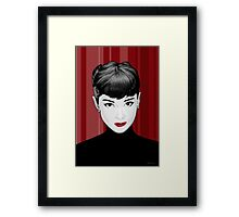 Audrey Hepburn on red background Framed Print