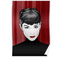 Audrey Hepburn on red background Poster