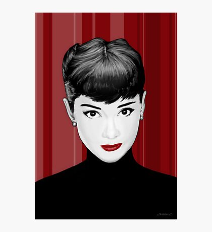 Audrey Hepburn on red background Photographic Print