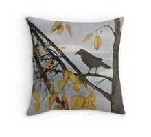 Raven In Birch Throw Pillow