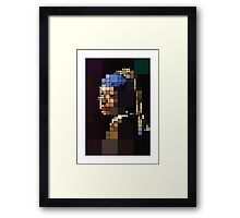 Girl with a Pearl Earring Pixelated Framed Print