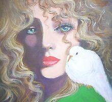 LADY WITH A WHITE DOVE by Dian Bernardo