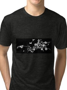 Birds and flowering branches in a 1900 illustration Tri-blend T-Shirt
