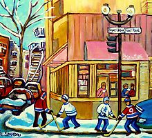 BEAUTY'S RESTAURANT WITH HOCKEY by Carole  Spandau