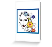 Nature Girl with flowers, butterflies & ladybugs Greeting Card