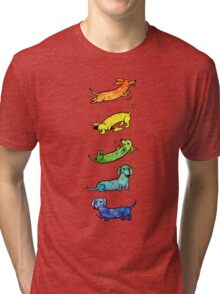 Watercolor Dachshunds Tri-blend T-Shirt