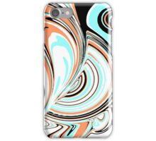 Aqua-Blue, Black, and Orange Design iPhone Case/Skin