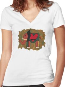 Elephant Heart Tee Women's Fitted V-Neck T-Shirt