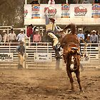 Rodeo Cowboy is Thrown from his Horse by Buckwhite